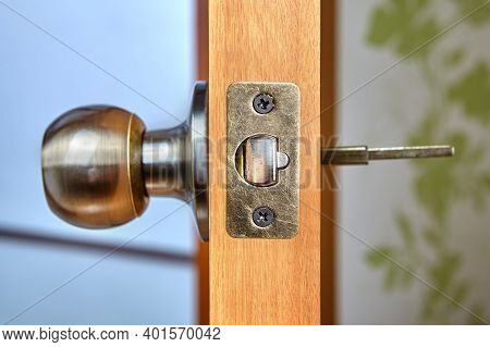 The Spindle Of The Knob Mechanism Is Visible From The Back Of Door.