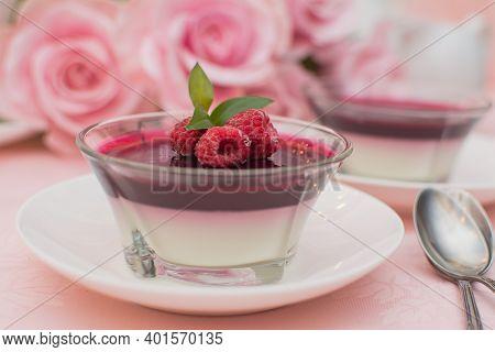 Italian Dessert Panna Cotta With Berry Sauce, Fresh Berries.