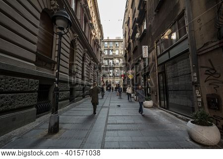 Belgrade, Serbia - April 6, 2019: Laze Pacua Street In The Afternoon, Crowded. It Is The One Of The