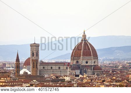 Florence, Italy - April 02 2019: Aerial View Of The Florence Cathedral, Formally The Cattedrale Di S