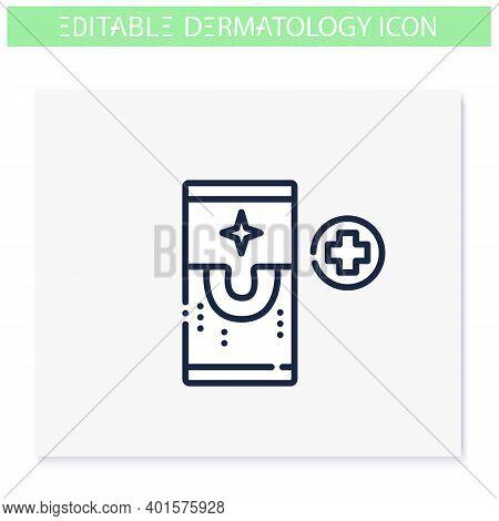 Dermatology App Line Icon. Skincare, Cosmetology, Telemedicine. Skin Problems, Dermatologic Diseases