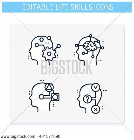Life Skills Line Icons Set. Personality Strengths. Critical, Lateral, System Thinking And More. Soft
