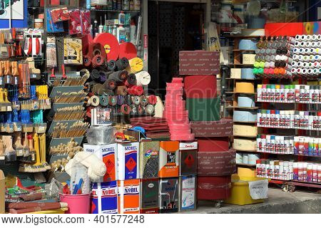 Istanbul, Turkey - October 06, 2020. Market Of Building And Finishing Materials In The Street. Comme