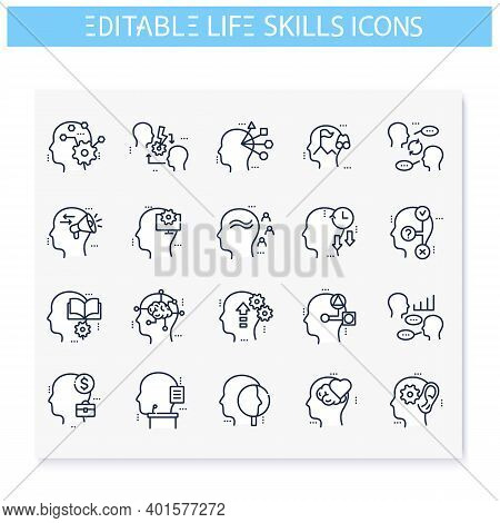 Life Skills Line Icons Set. Personality Strengths. Cognitivity, Influence, Timeliness And More. Soft