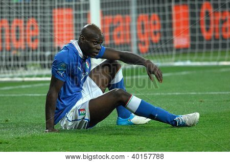 KYIV, UKRAINE - JULY 01,2012:Italian forward Mario Balotelli during the game against Spain on July 01 2012 in KYIV