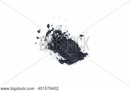 Black Powder On White Background.  Beauty Concept
