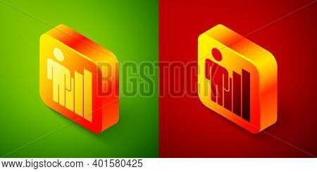 Isometric Productive Human Icon Isolated On Green And Red Background. Idea Work, Success, Productivi