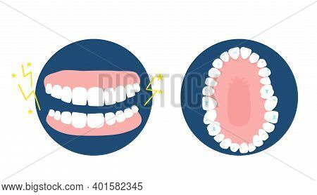 Bruxism Disease Concept.human Jaw Top And Front View.dental And Orthodontic Treatment.oral Hygiene A