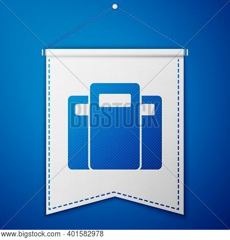Blue Police Assault Shield Icon Isolated On Blue Background. White Pennant Template. Vector