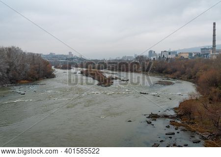 Kura River On The Outskirts Of The City Of Tbilisi