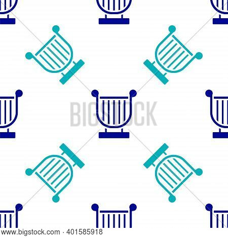 Blue Ancient Greek Lyre Icon Isolated Seamless Pattern On White Background. Classical Music Instrume
