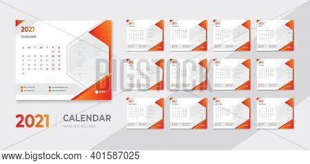 Modern Desk Calendar 2021 Simple Design Template Vector