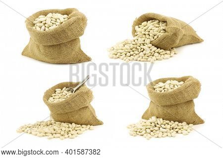 dried white beans in a burlap bag on a white background