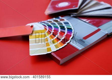 Color Palette Samples On Red Background. Wood Texture Door Texture Samples. Samples Of Color Palette