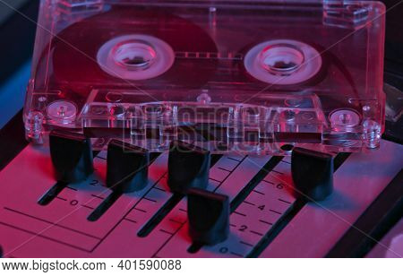 Dj Console Tuners With Audio Cassette In Pink-blue Neon Light