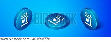 Isometric Glass Test Tube Flask On Stand Icon Isolated On Blue Background. Laboratory Equipment. Blu