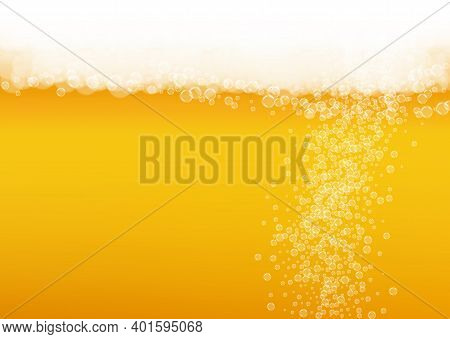 Splash Beer. Background For Craft Lager. Oktoberfest Foam. Pour Pint Of Ale With Realistic White Bub