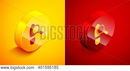 Isometric Magnifying Glass With Footsteps Icon Isolated On Orange And Red Background. Detective Is I