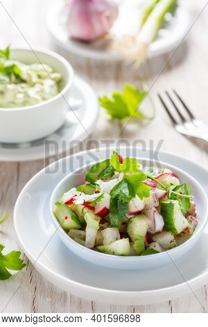 Spring salad with radish, cucumber and avocado. With avocado dip and scallions.
