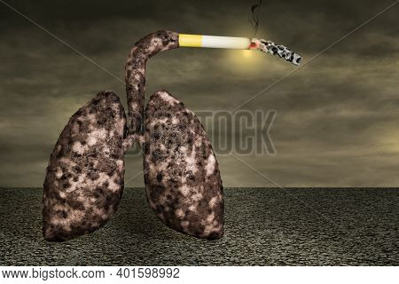 Disease Lungs Smoking A Cigarette On Asphalt In A Sunset Day. No Smoking Day World,31 May Or Quittin