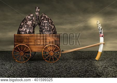 Cigarette Lit Dragging A Farm Cart Of Disease Lungs On Asphalt In A Sunset Day. No Smoking Day World