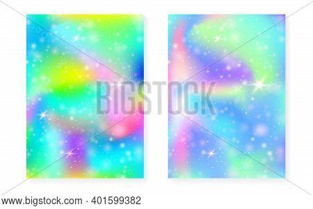 Princess Background With Kawaii Rainbow Gradient. Magic Unicorn Hologram. Holographic Fairy Set. Mul
