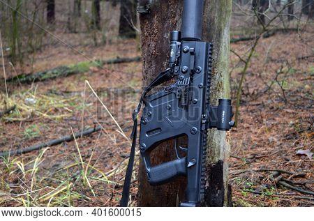 KRISS Vector 9*21 caliber submachine gun. Unformal shooting range near Kiev. January 1, 2021. Kiev Region, Ukraine