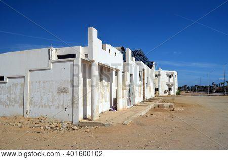 Empty streets and abandoned houses. Sharm El Sheikh, Egypt on November 4, 2020