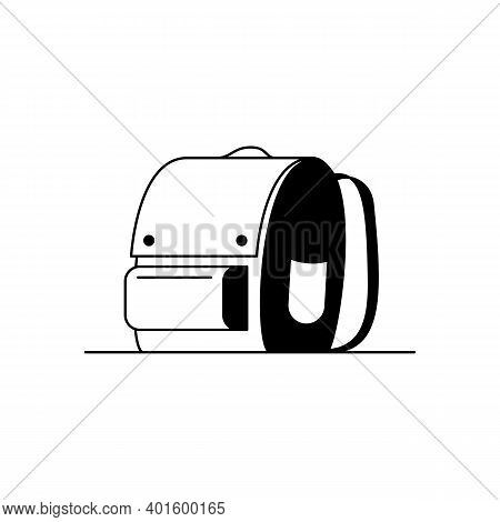 Backpack Icon. Outline Vector Icon Of A Stylish Backpack, School Bag. Black And White Linear Illustr
