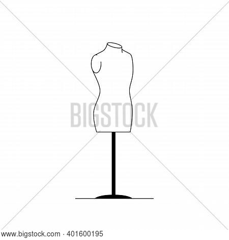 Mannequin Icon. Outline Vector Icon Of A Female Dummy On A Stand. Black And White Linear Illustratio