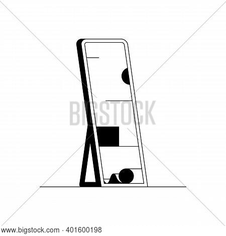 Mirror Icon. Outline Vector Icon Of A Big Looking Glass. Black And White Linear Illustration Of A Ta