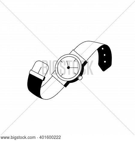 Wristwatch Icon. Outline Vector Icon Of Stylish Wristwatches, Classic Round Watch With Hands And Mec