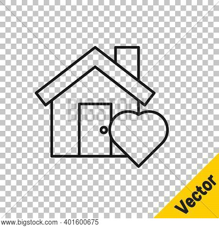 Black Line House With Heart Shape Icon Isolated On Transparent Background. Love Home Symbol. Family,