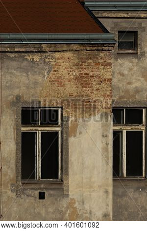 Internal Walls And Windows From Old Buildings In Prague 6 Are Old And Rotten, Close To Hradcanska Tr