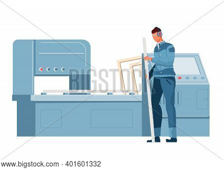 Plastic Window Production Plant Machinery And Worker Flat Vector Illustration