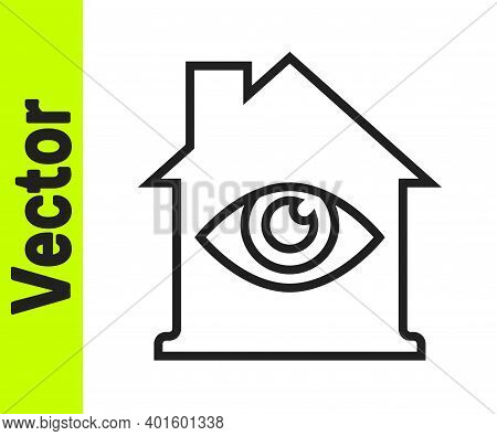 Black Line House With Eye Scan Icon Isolated On White Background. Scanning Eye. Security Check Symbo