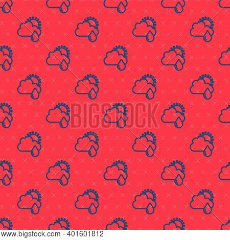 Blue Line Cloud With Rain And Sun Icon Isolated Seamless Pattern On Red Background. Rain Cloud Preci