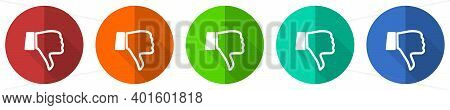 Dislike Icon Set, Red, Blue, Green And Orange Flat Design Web Buttons Isolated On White Background,