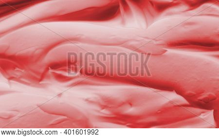 Texture Of Red Cream Foam. Beauty Concept