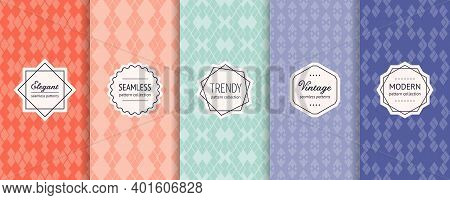 Vector Set Of Vintage Seamless Patterns In Ethnic Style. Retro Geometric Textures In Trendy Pastel C