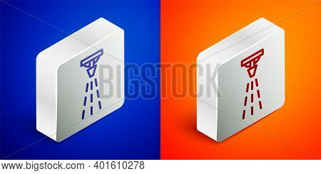 Isometric Line Fire Sprinkler System Icon Isolated On Blue And Orange Background. Sprinkler, Fire Ex