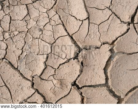 Environmental Disaster. Drought. Global Climate Change And Waterless Icon. Nature Background Of Crac