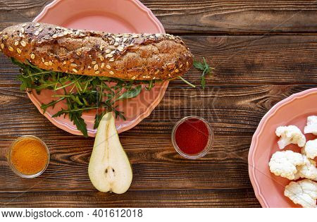 Healthy Tasty Snack. Delicious Sandwich With Fresh Fruits And Vegetables On Brown Wooden Table, Top