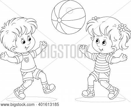 Happy Little Kids Playing, Running And Catching A Big Ball On A Playground, Black And White Outline