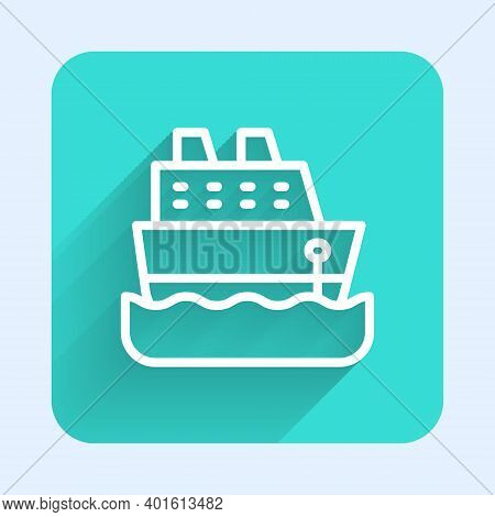 White Line Cruise Ship Icon Isolated With Long Shadow. Travel Tourism Nautical Transport. Voyage Pas
