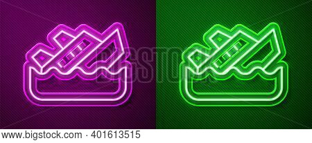 Glowing Neon Line Sinking Cruise Ship Icon Isolated On Purple And Green Background. Travel Tourism N