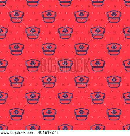 Blue Line Pilot Hat Icon Isolated Seamless Pattern On Red Background. Vector