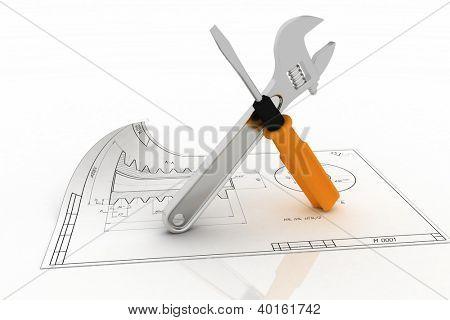 3D llave y destornillador con el proyecto. Ilustración en blanco.