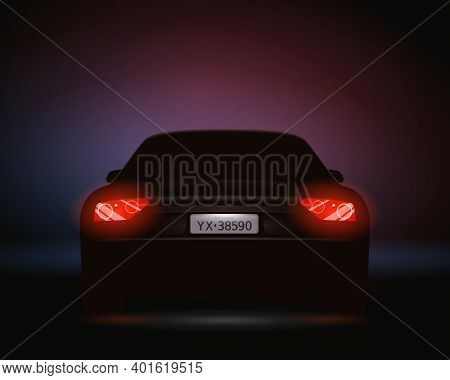 Realistic Car Number Headlights Night Composition With Rear View Of Automobile With License Plate An