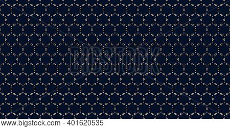 Golden Minimal Ornament Pattern. Vector Geometric Seamless Texture With Delicate Grid, Thin Linear S
